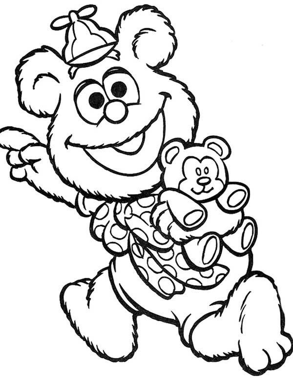 Muppet Babies Happy With His New Teddy Bear Coloring Pages