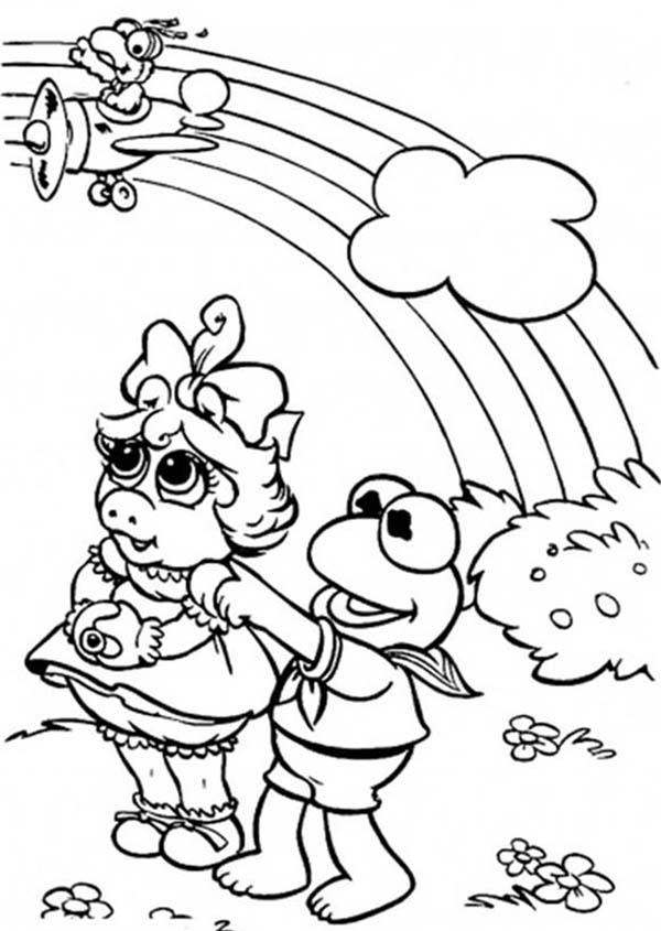 Muppet Babies Spending Time Looking At The Rainbow Coloring Pages