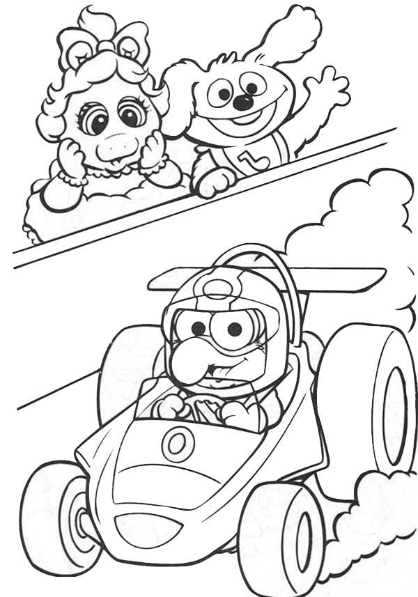 Muppet Babies Watching Formula 1 Race Coloring Pages
