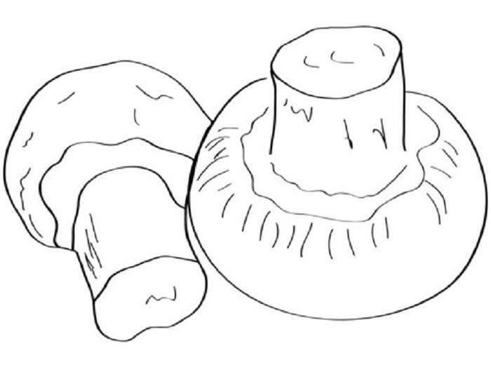 Mushrooms Vegetables Coloring Pages
