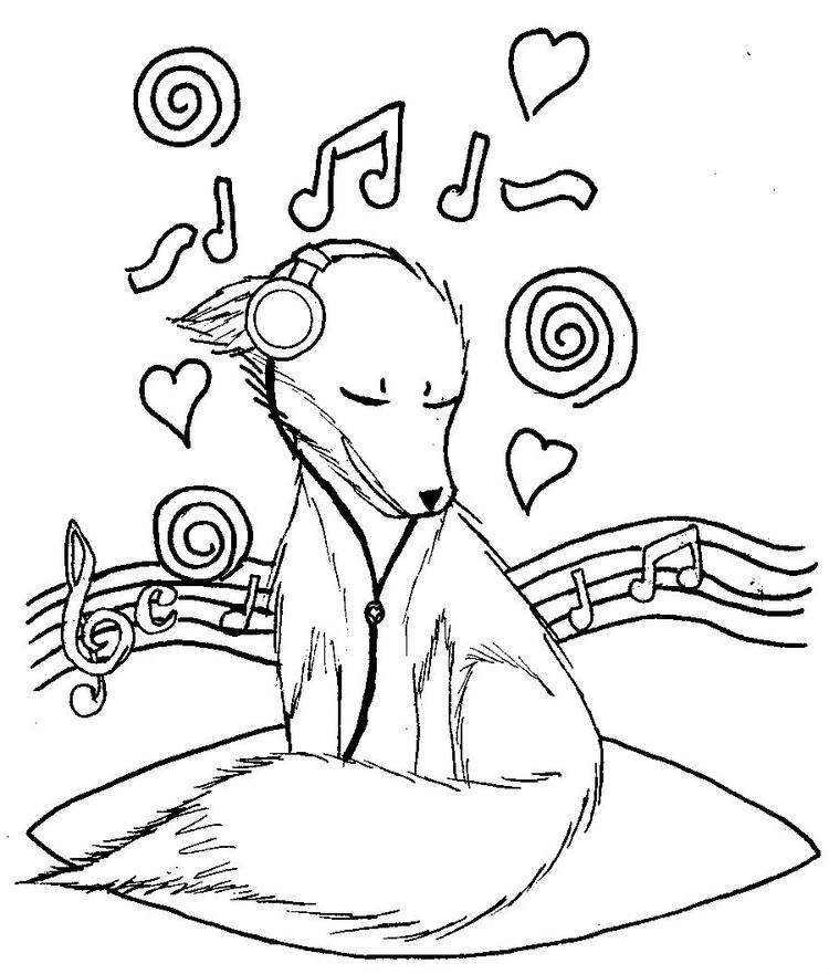 Music Coloring Pages Dog Listening To Music