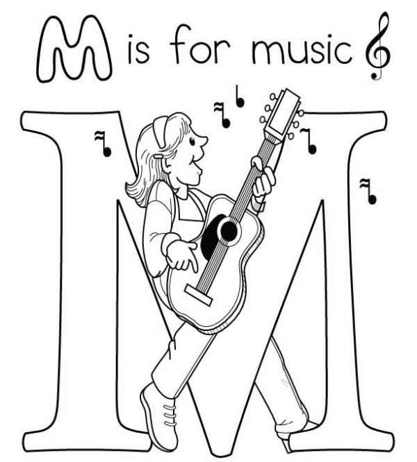 Music Coloring Pages M Is For Music