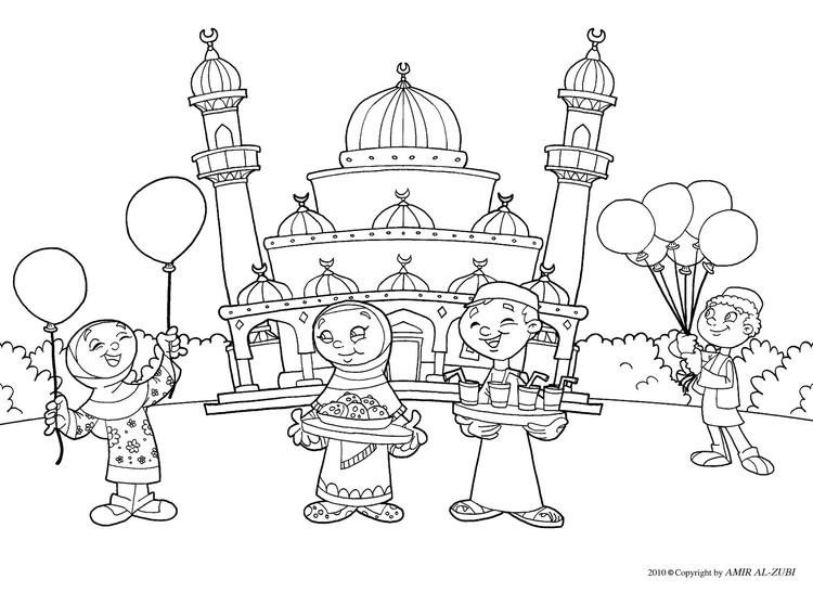 Muslim Kids Coloring Pages