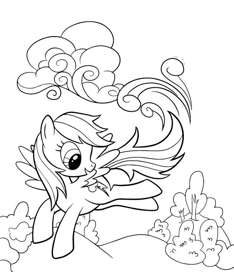 My Little Pony Coloring Pages Rainbow Dash Happy