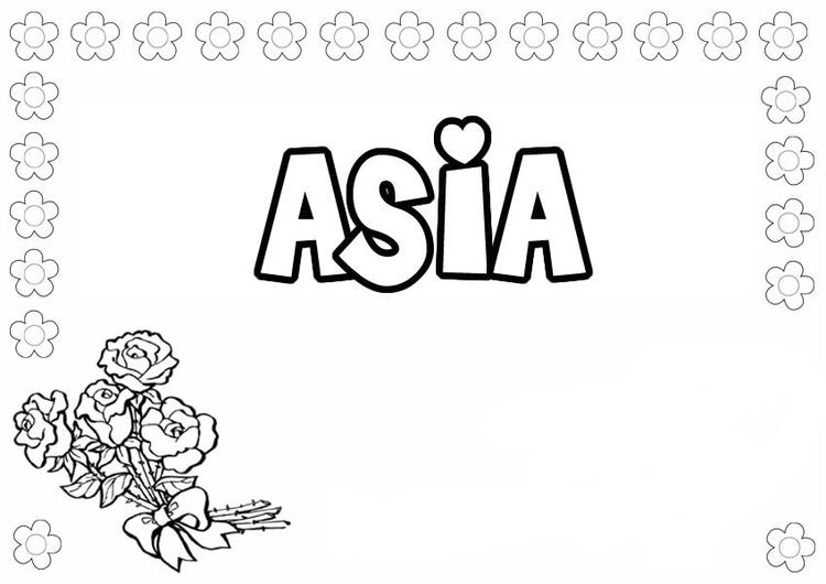 Name Coloring Pages Asia