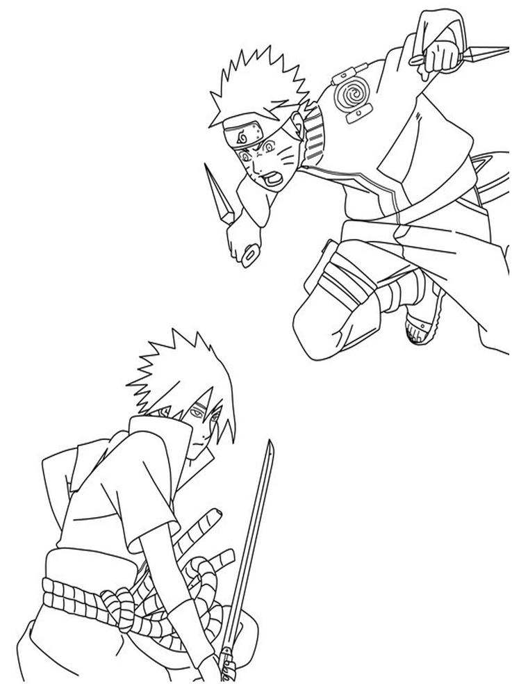 Naruto Coloring Pages Battle
