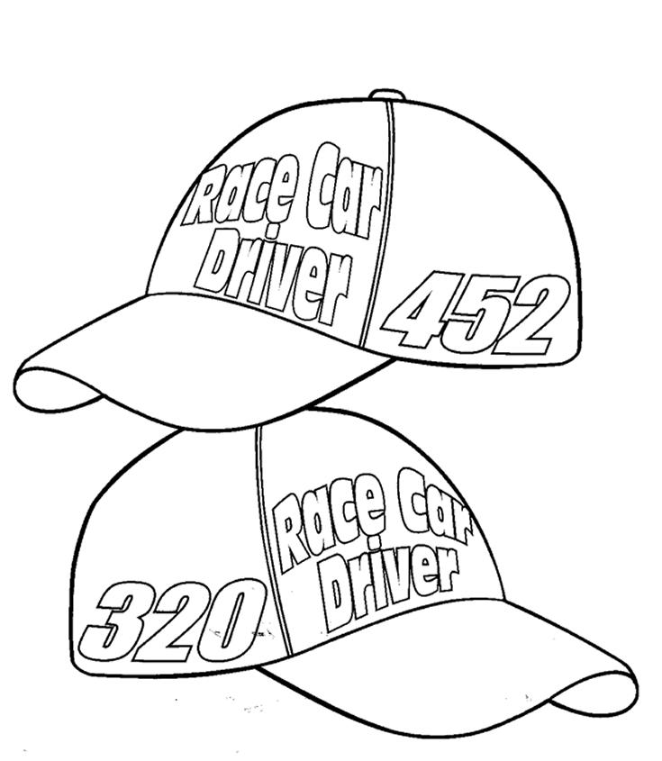 Nascar Coloring Pages Drivers Hat