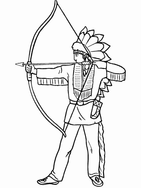 Native American Coloring Pages Archery