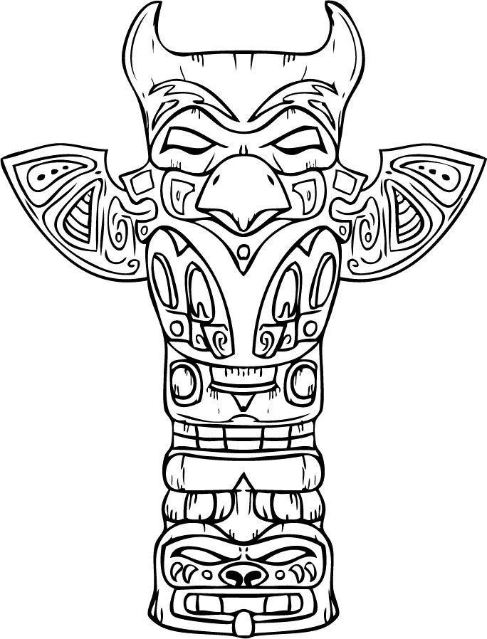 Native American Coloring Pages Totem Pole