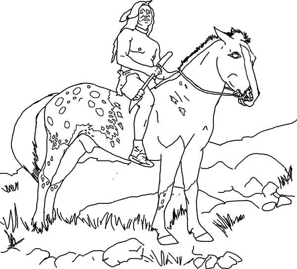 Native American On Appalooshorse Coloring Pages