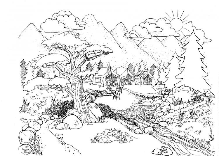 Nature Coloring Pages Campground