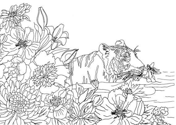 Nature Coloring Pages Flowers And Tiger