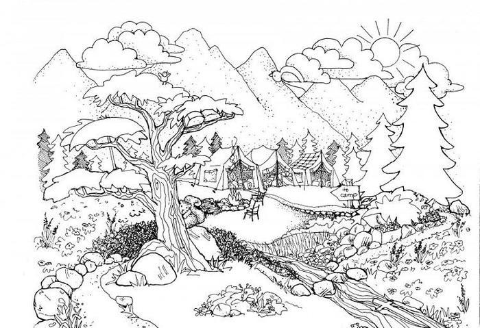 Nature Coloring Pages For Adults Printable