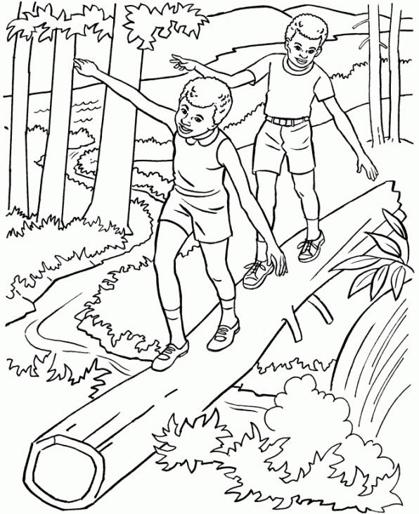 Nature Coloring Pages Kids In Forest