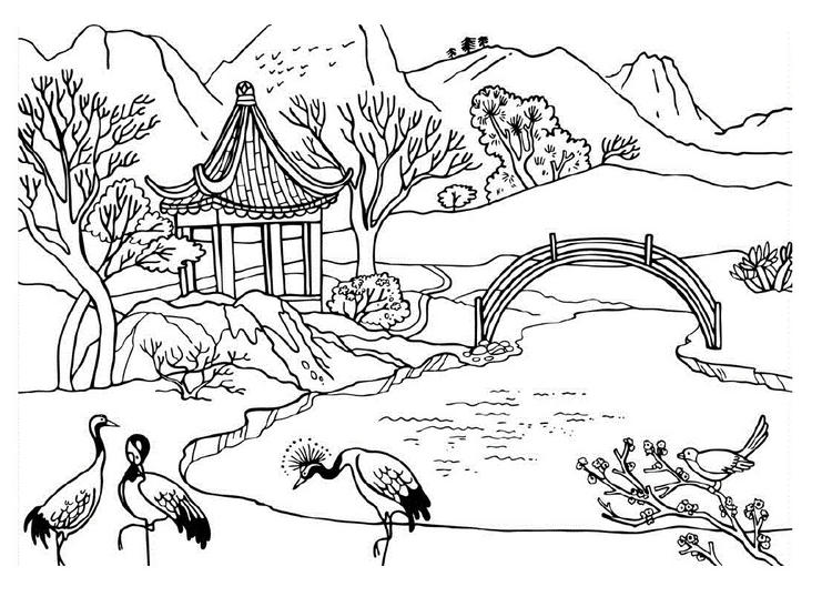 Nature Coloring Pages Mountain Lake