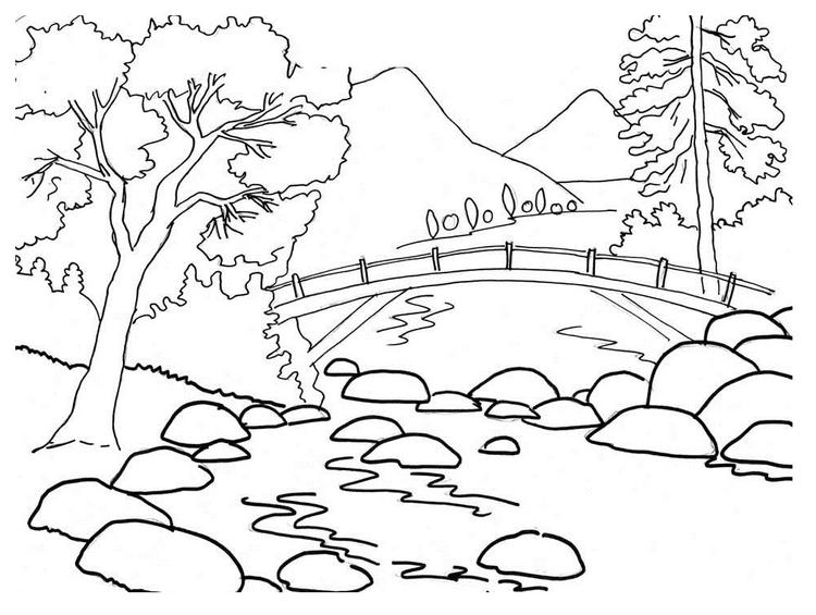 Nature Coloring Pages Mountain River