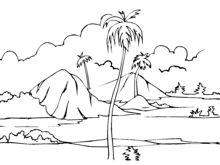 Nature Coloring Pages Mountain View