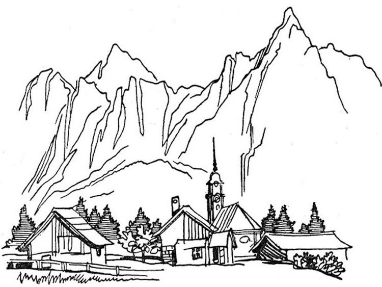Nature coloring pages mountain village