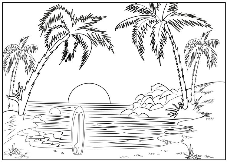 Nature Scenery Coloring Page