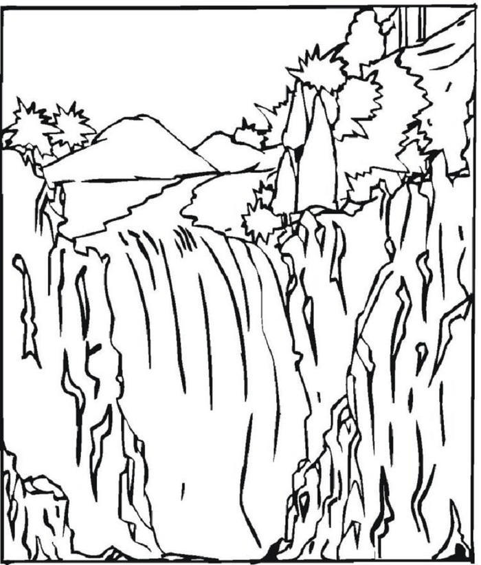 Nature Waterfall Coloring Pages