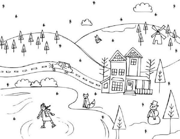 Nature Winter Coloring Pages