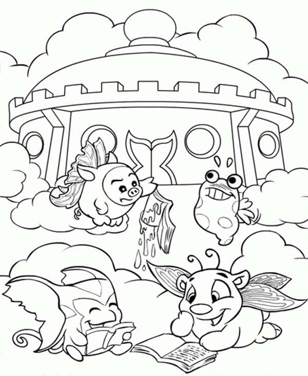 Neopets Lazing In Front Of Castle Coloring Pages