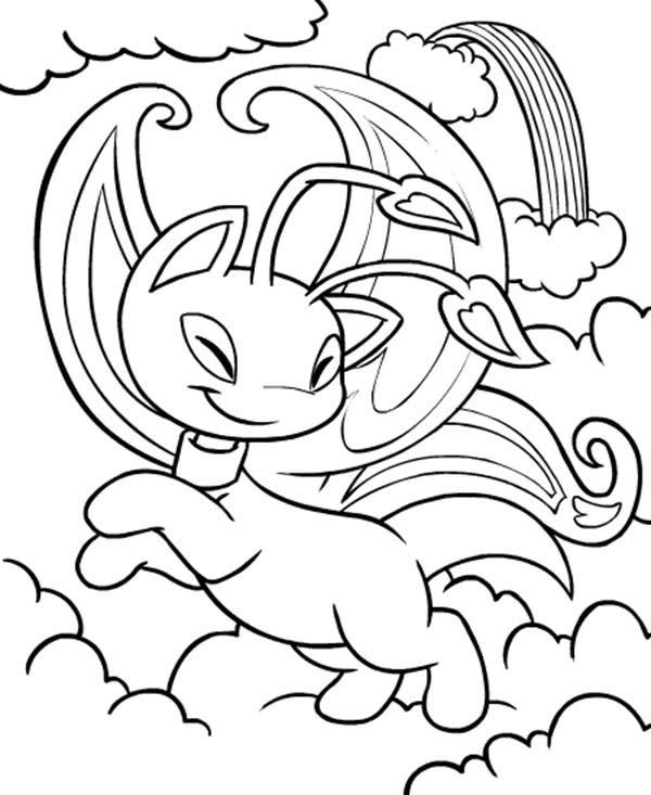 Neopets Playing Between White Clouds Coloring Pages