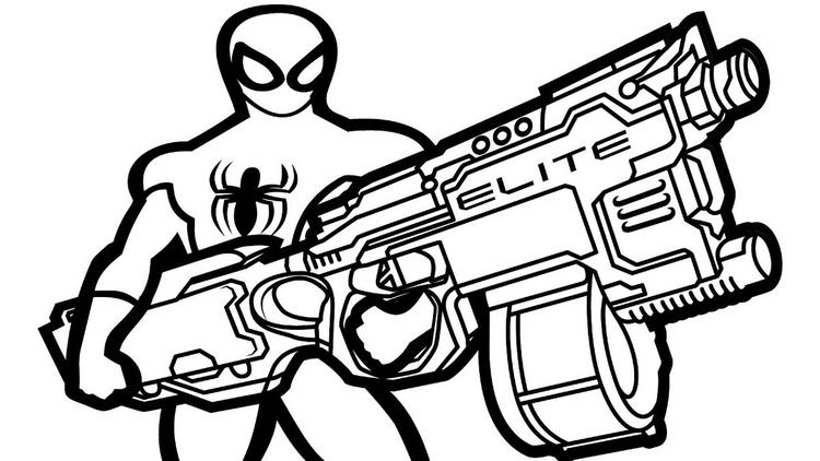 Nerf Gun Spiderman Themed Coloring Page