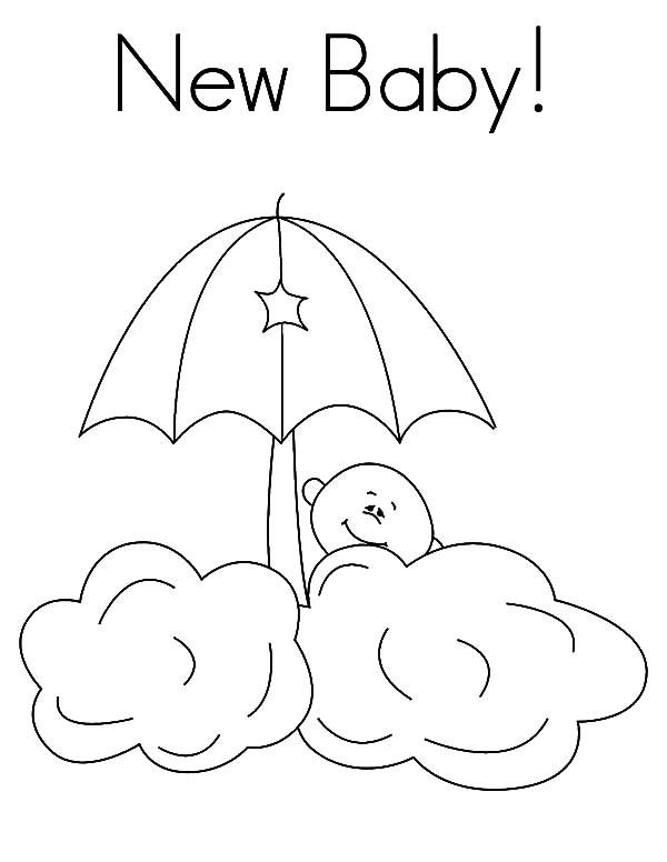 New Babies Hide Behind The Clouds Coloring Pages