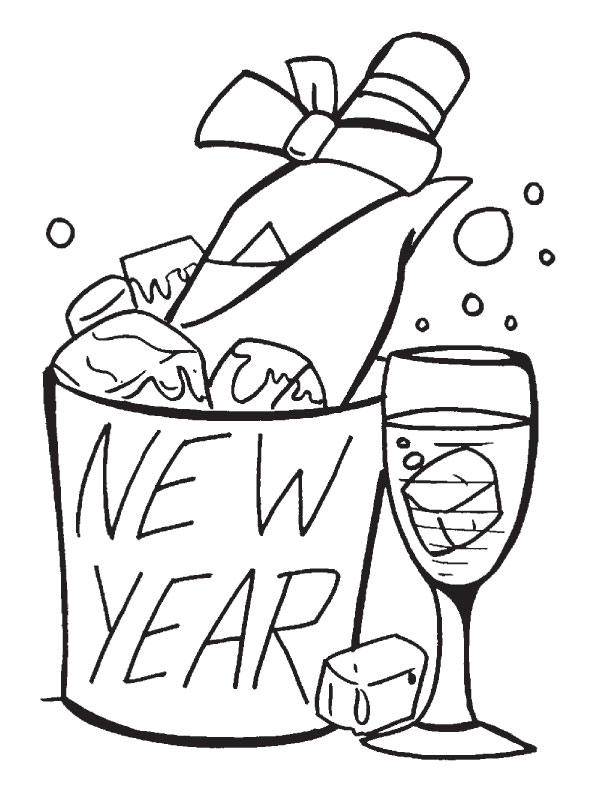 New Year Coloring Pages Champagne