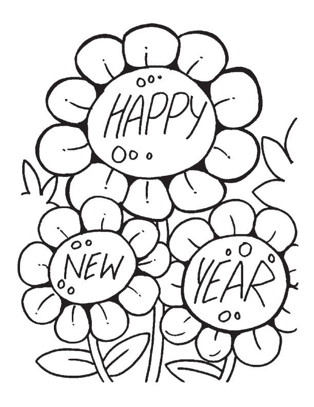 New Year Coloring Pages Flowers