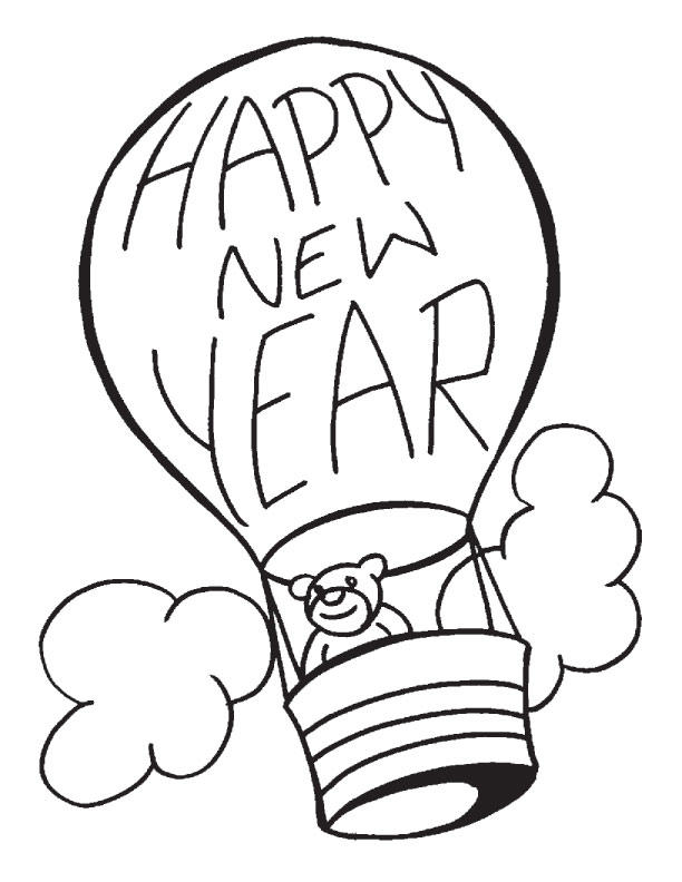 New Year Coloring Pages Hot Air Balloon