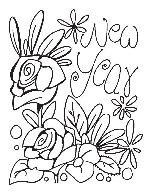 New Year Coloring Pages Roses