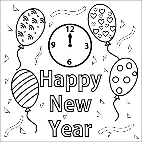 New Year Coloring Pages With Balloons