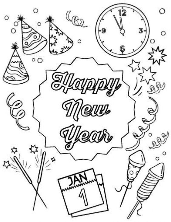 New Year Stuff Coloring Pages