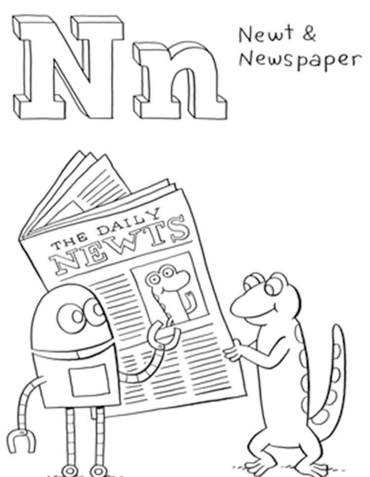 Newt And Newspaper Free Alphabet Coloring Pages