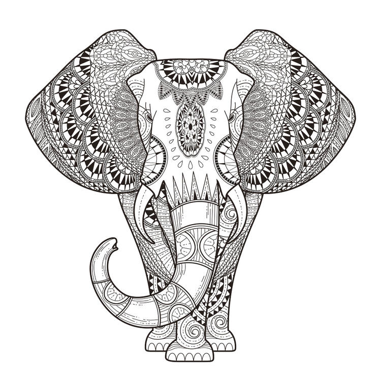 Nice Abstract Elephant Coloring Pages For Adults