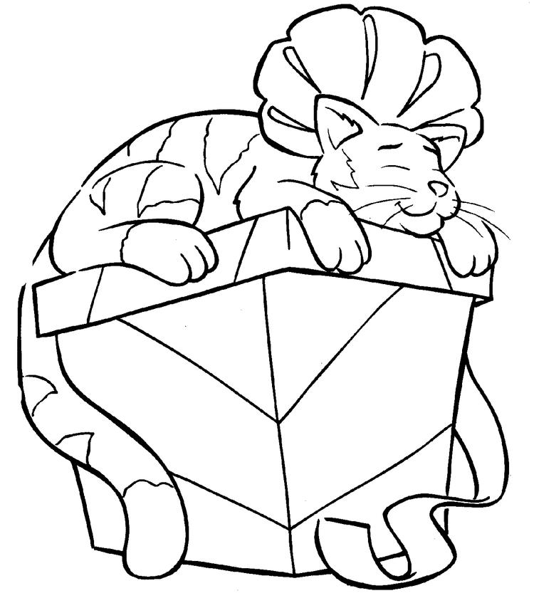 Nice Christmas Kitty Coloring Pages