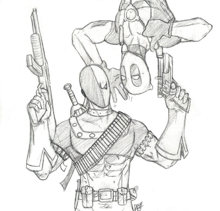 Nice Deathstroke Vs Deadpool Coloring Pages