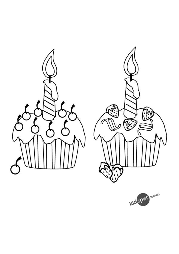 Nice Happy Birthday Cupcake Coloring Pages