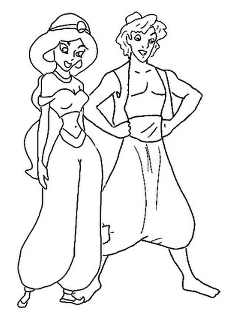 Nice Jasmine And Aladdin Coloring Pages
