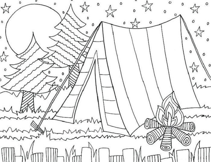 Night Camping Coloring Pages
