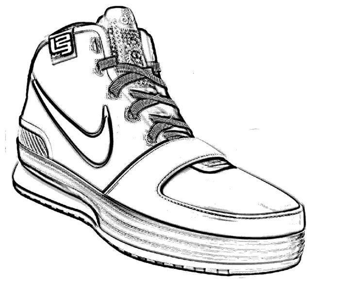 Nike Basketball Shoes Coloring Page Sport Wear