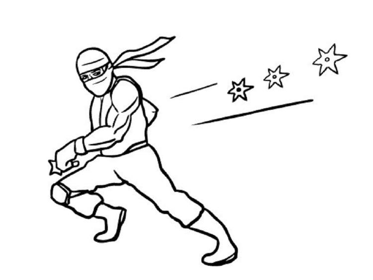 Ninja Coloring Pages Throwing Stars
