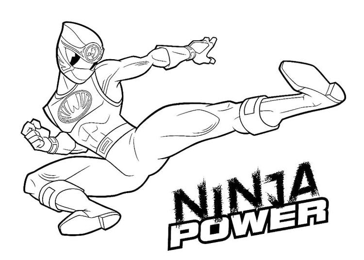 Ninja Power Rangers Coloring Pages For Kids Printable
