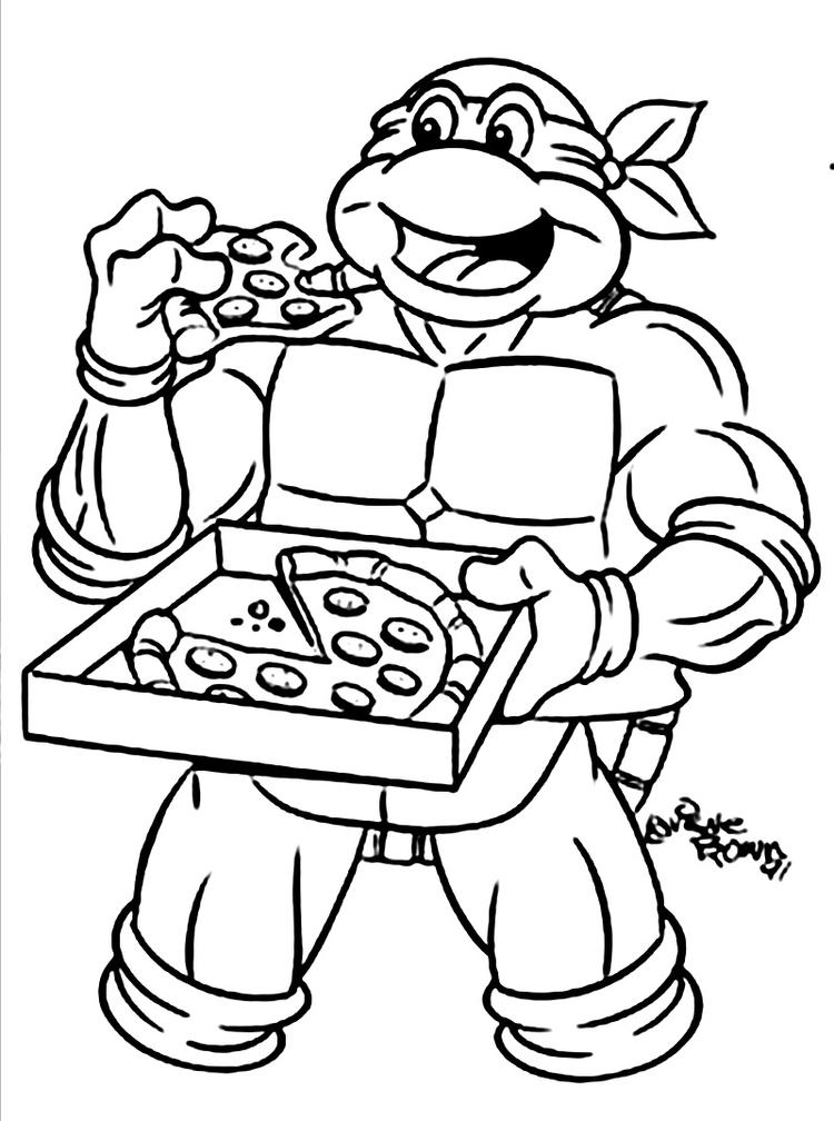 Ninja Turtle Coloring Pages Eat Pizza