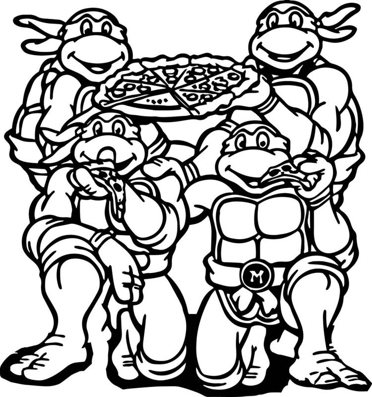 Ninja Turtle Coloring Pages Eating Pizza