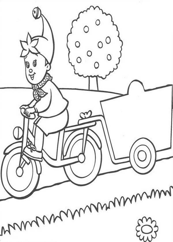 Noddy Bring Cart With His Bike Coloring Pages
