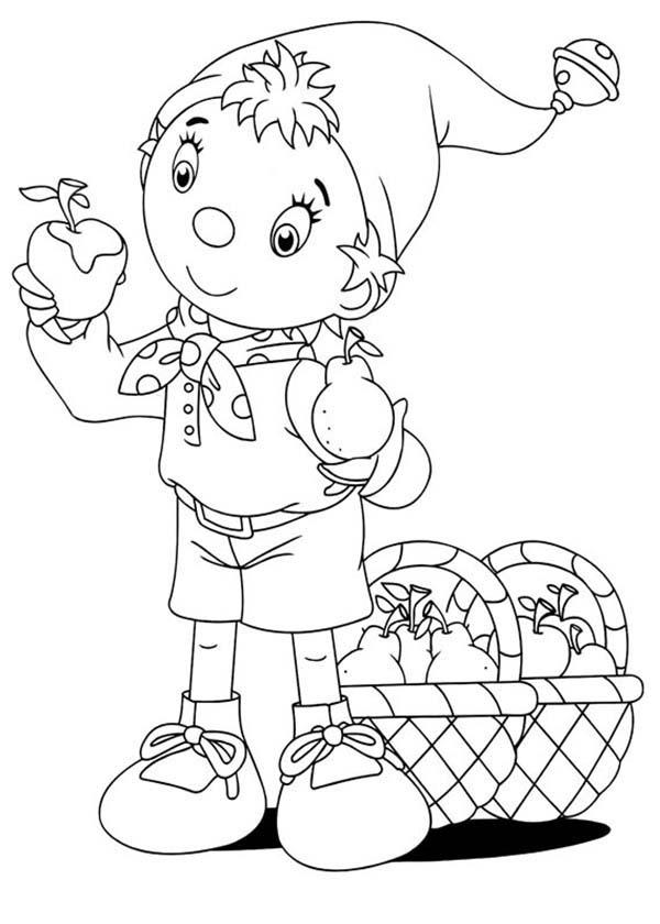 Noddy Confuse To Choose Between Apple And Pear Coloring Pages