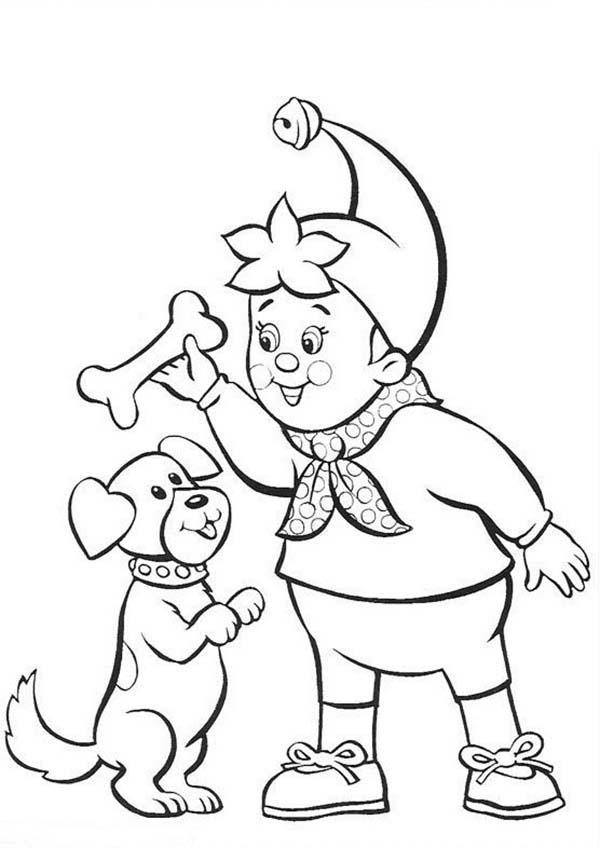 Noddy Play Catch With His Dog Coloring Pages